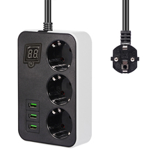 Smart Timing Socket Power Strip 3EU Plug Outlets Electric Socket With USB 3Ports Charger Adapter  5V 3.4A 1.8m Extension Cord