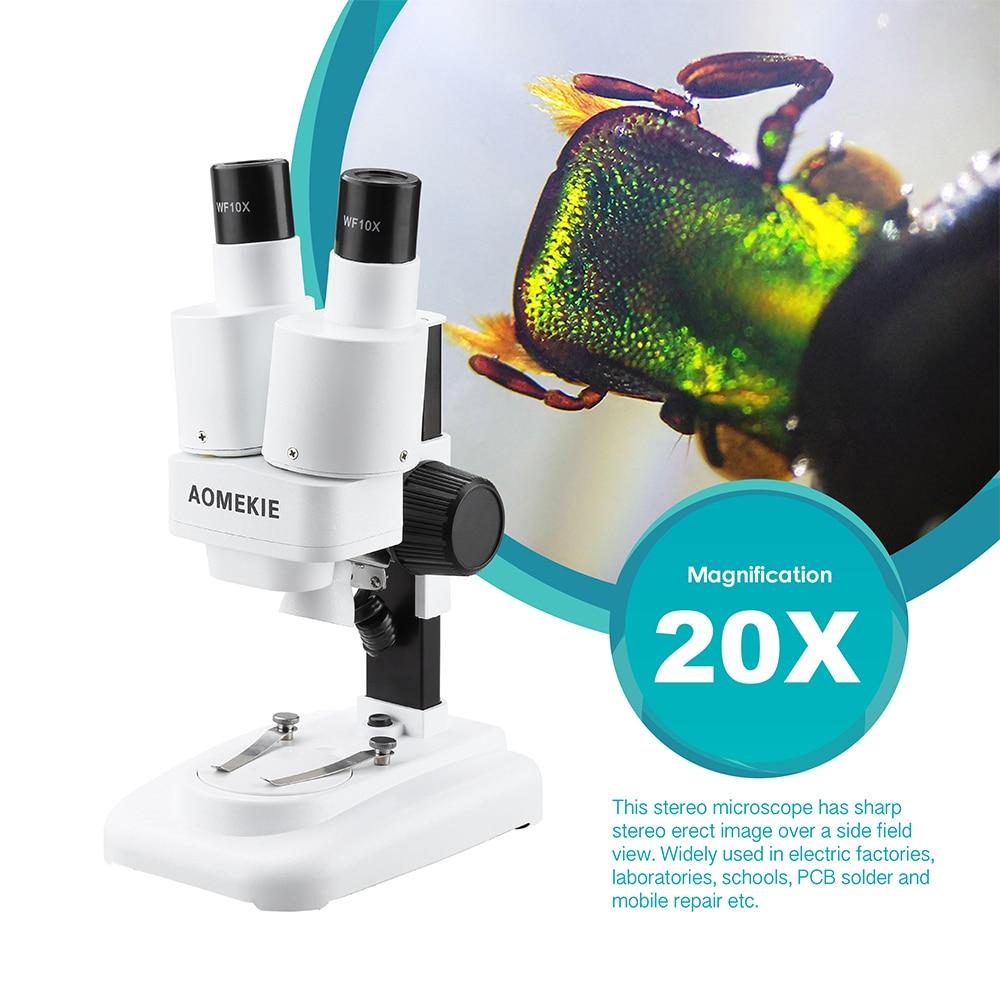 Microscopio stereo AOMEKIE 20X binoculare con LED per strumento di - Strumenti di misura - Fotografia 2