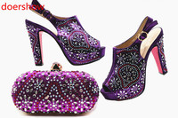 doershow NewStyle African purpleShoe and Bag Set for Party Women Matching Shoes and Bags for Wedding Italian Shoe with Bag MQ1 5