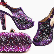 doershow NewStyle African purpleShoe and Bag Set for Party W