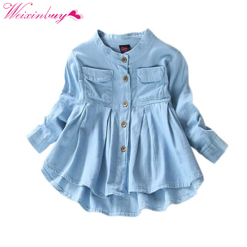 2017 Children Long Sleeve Denim Girl Jean Blouses Clothing Autumn Fashion Baby Girls Jeans Shirts