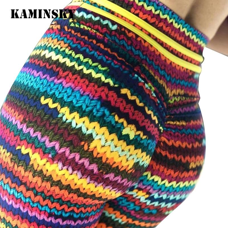 Kaminsky Fashion Color 3D Printing Women   Leggings   Spring Polyester High Waist Long Trousers Original Knit Fitness   Leggings