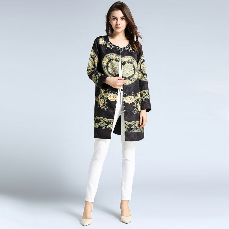 Vintage Print Long Sleeve Single Breasted Long Coats   Trench   Women Casual Fashion Office Street Outerwear Spring Lady Clothing