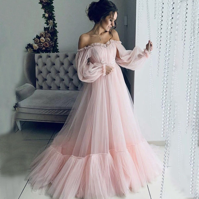 2019 Pink Tulle   Evening     Dress   Long Sleeves Formal   dress   Candy Color   Evening   Gown Abendkleider 2019