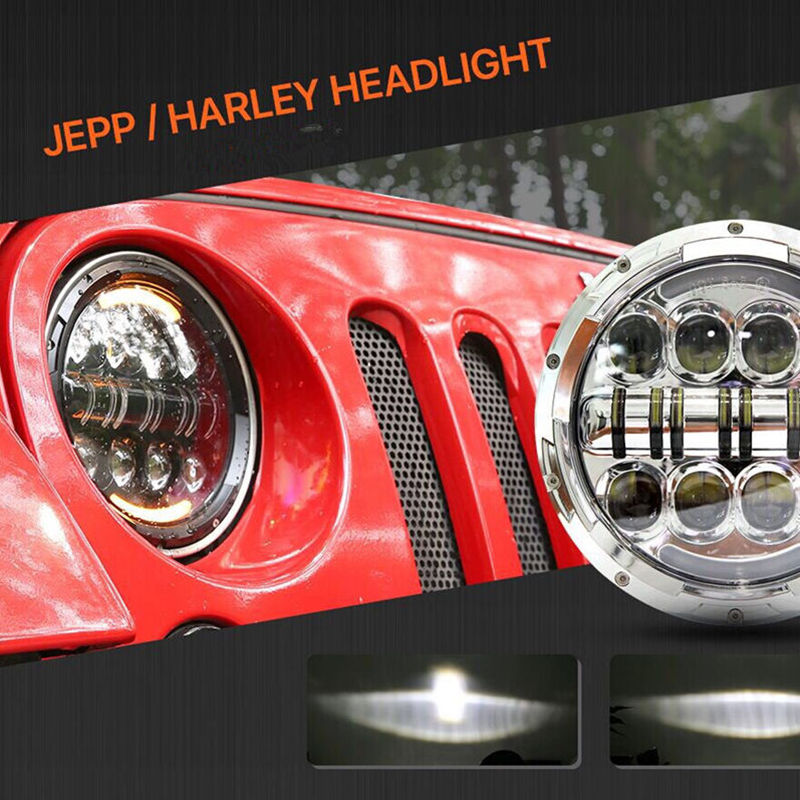 7 inch 80w Round LED Headlight with DRL High Low Beam Leds Chip for JEEP Wrangler 2007-2017 Jk Tj Fj Hummer 7 Car Headlights