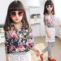 Girls Set Peony Lace Shirt Pastoral Style Two Piece Kids Clothing Sets Grey Dark Blue Cotton Flowers Printed