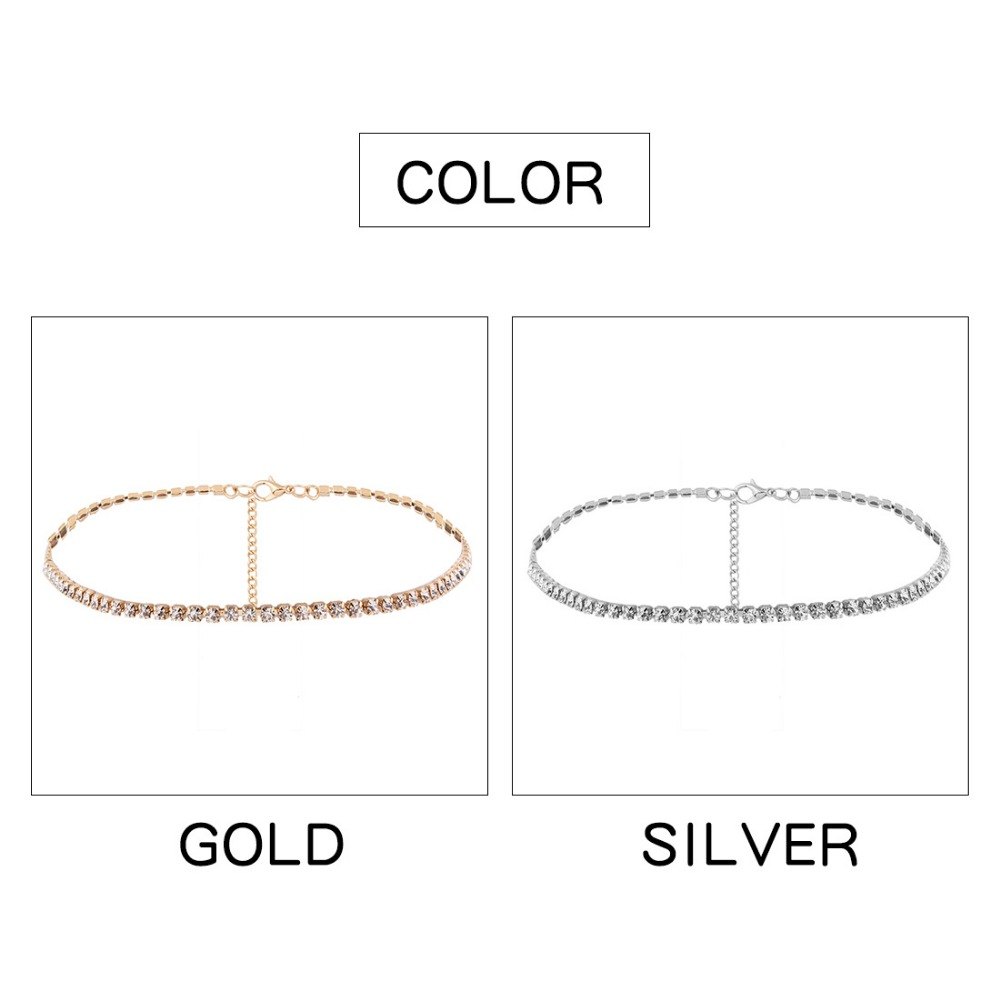 Simple Design Crystal Beads Choker necklace women Statement necklace Sparkly Rhinestone chocker wedding jewellery 8