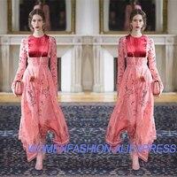 С бархат шифоновое платье для женщин, длинные рукава летнее платье, Модное длинное платье элегантные свадебные платья, взлетно посадочной п