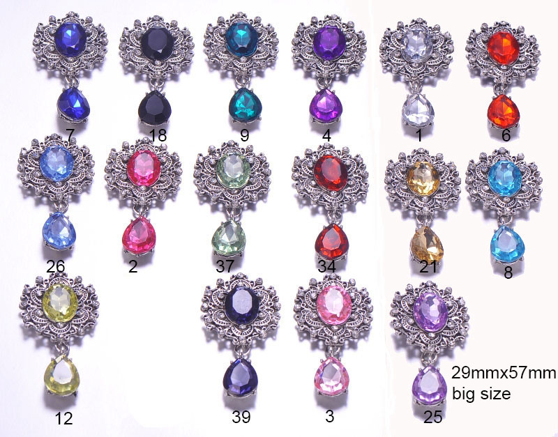 J0667 29mmx57mm vintage metal rhinestone button antique silver plating flat back 16 colors for choose