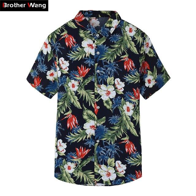d97234ff5c 2019 Summer New Men's Short Sleeve Shirt Fashion Casual Hawaiian Shirt  flower shirt male Plus Size 5XL 6XL 7XL