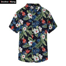 2019 Summer New Men's Short Sleeve Shirt Fashion Casual Hawaiian Shirt flower shirt male Plus Size 5XL 6XL 7XL