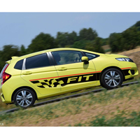 car sticker 2pc racing grid styling side door stripe graphic vinyl Car accessories decals for Honda fit 2014 on