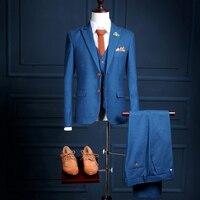 Na20 новая модель пользовательского два Пуговицы Королевский синий Ман праздничная одежда для выпускного вечера сторон Смокинги для женихов