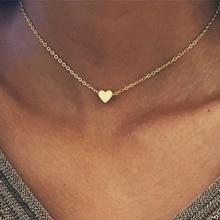 Silver Color Heart Pendant Necklace for Women Short Chain Heart Collana Kolye Necklace Choker Chain Necklace Collar Love Jewelry heart pendant chain necklace