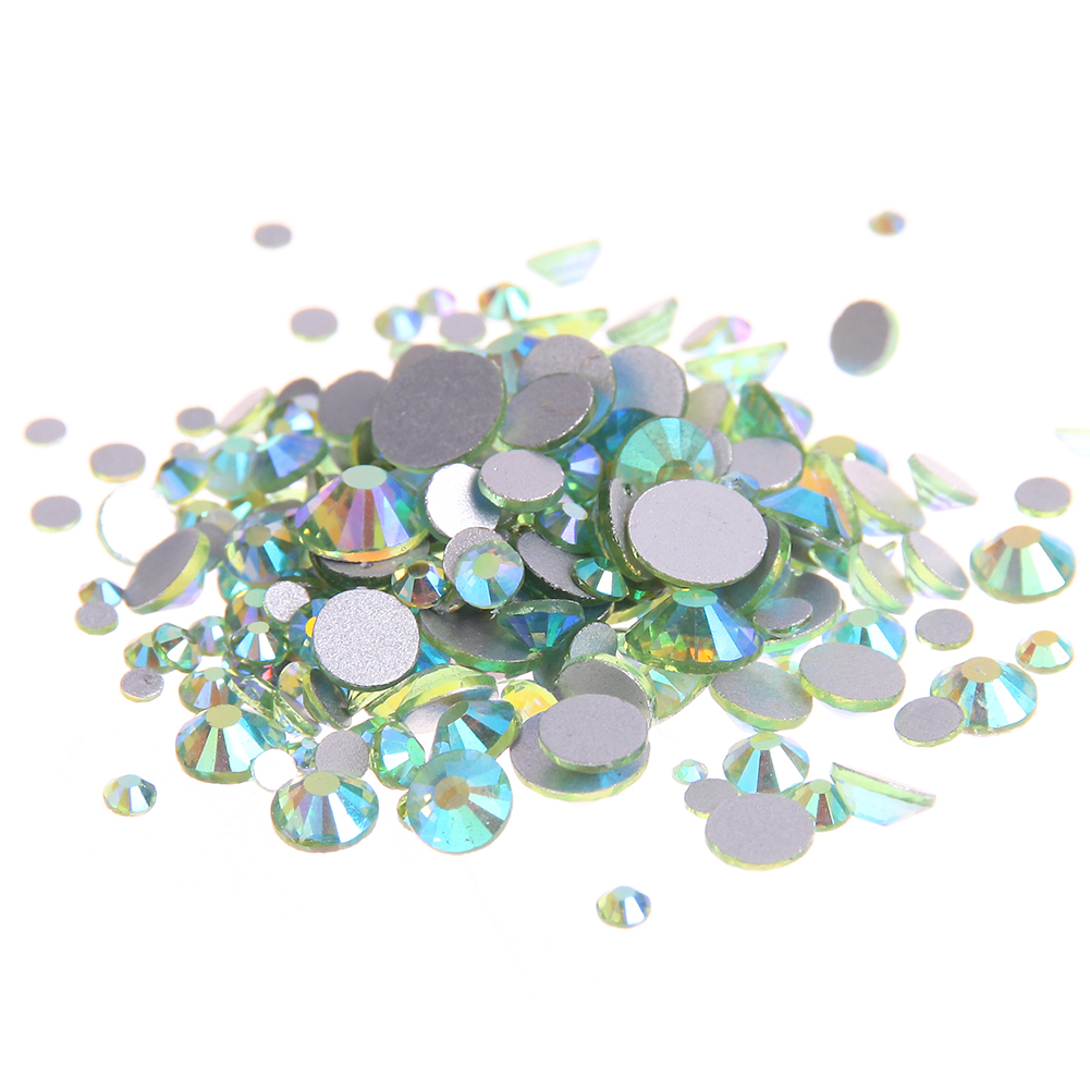 Peridot AB Non Hotfix Glass Rhinestones For Nails Art Charms Flatback Round Glue On Crystal Chatons DIY Wedding Clothes Supplies ss6 1440pcs nail art rhinestones for nails 3d manicure decoration non hotfix glue on nails crystal flatback stone diy decoration