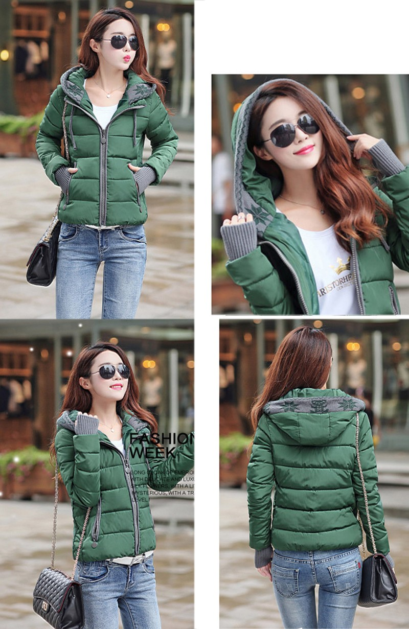 Women Winter Coat Long Sleeve Print Floral Hooded Slim Winter Parka Plus Size Cotton-Padded Jackets 2XL (13)