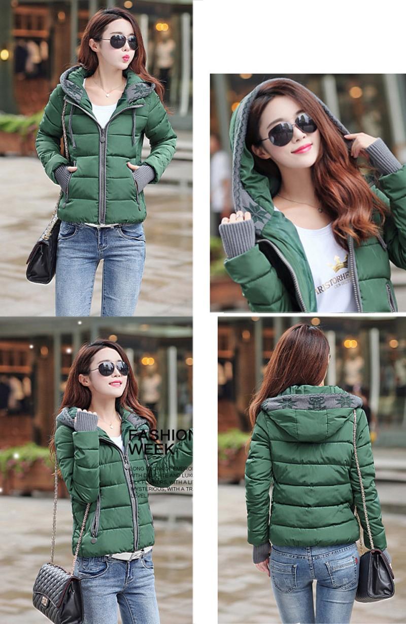 Women Winter Coat Long Sleeve Print Floral Hooded Slim Winter Parka Plus Size Cotton-Padded Jackets 2XL (13)