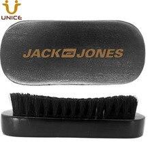 50pcs/lot Amazon Ebay Hot Good Quality Black Wooden Beard Brush Customized LOGO Pure Boar Bristle for Whiskers Moustache