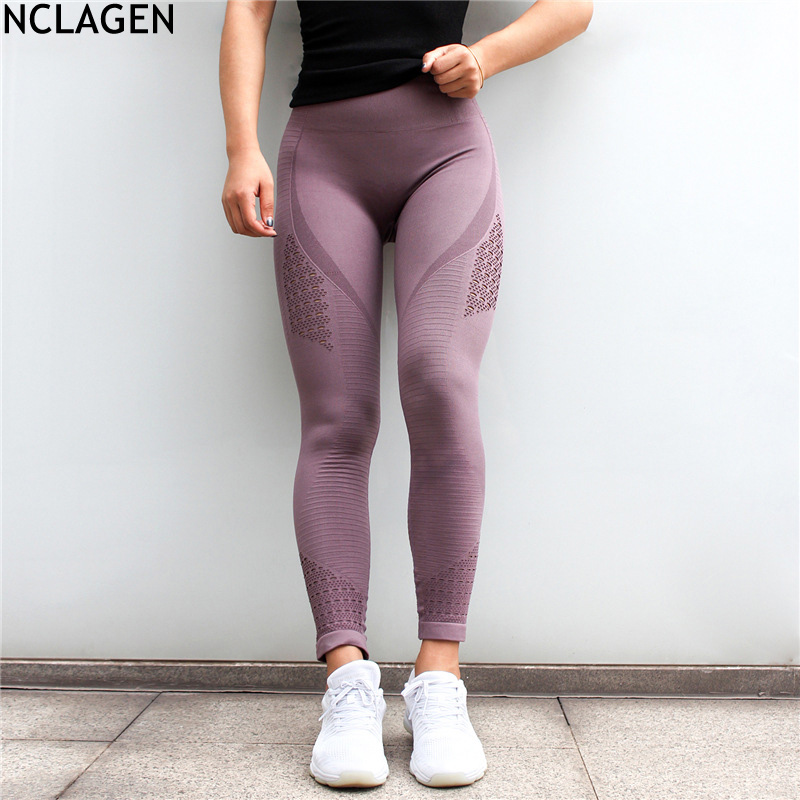 NCLAGEN Women Squat Proof Hole Hollow Out Booty Sexy Slim Capris Seamless Fitness Workout Pant Butt Lifting Yogaing Gyms Legging
