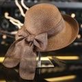 New Fashion Flat Sun Hat Women's Summer bow Straw Hats For Women Beach Headwear 7Colors chapeau femme Gift