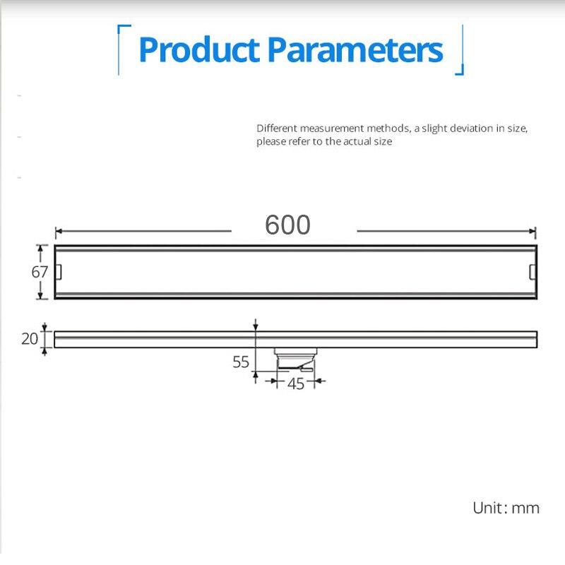 Qualité 60 cm couvercle de Drain de sol résistant aux odeurs Rectangle SUS304 en acier inoxydable Drain/égouttoir de sol de douche - 2