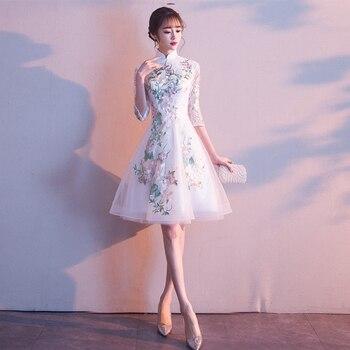 Party Evening Cheongsam Dress Oriental Chinese Style Woman Elegant Lace Qipao Sexy Wedding Prom Short Robe Retro Vestido XS-3XL
