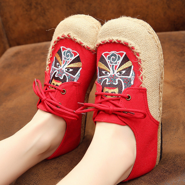 Institute Wind Women Lace-up Casual Shoes Peking Opera Embroidered Linen Cloth Shoes Casuales Mujer Comfortable Quality