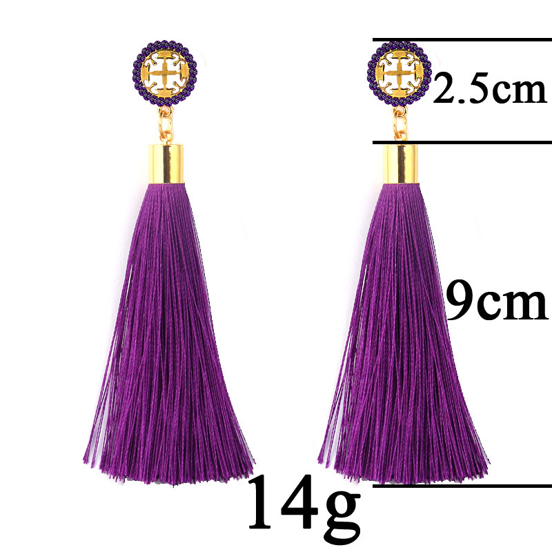 Exaggerated Rhinestone Long Tassel Earrings 2017 New Arrival Fashion Brincos Bijoux Crystal Dangle Earrings Women's Jewelry 1