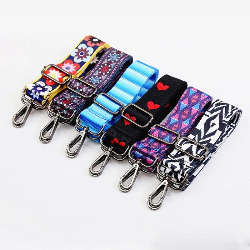Rainbow ปรับ Obag สายรัดไนลอนเข็มขัดสีสายแขวนกระเป๋าถืออุปกรณ์เสริมสำหรับผู้หญิงตกแต่ง Obag จับเครื...