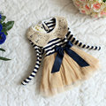 Vestido de lentejuelas de rayas de cuello de encaje de la nueva muchacha encantadora princesa vestidos de primavera y otoño bebé ropa de los cabritos