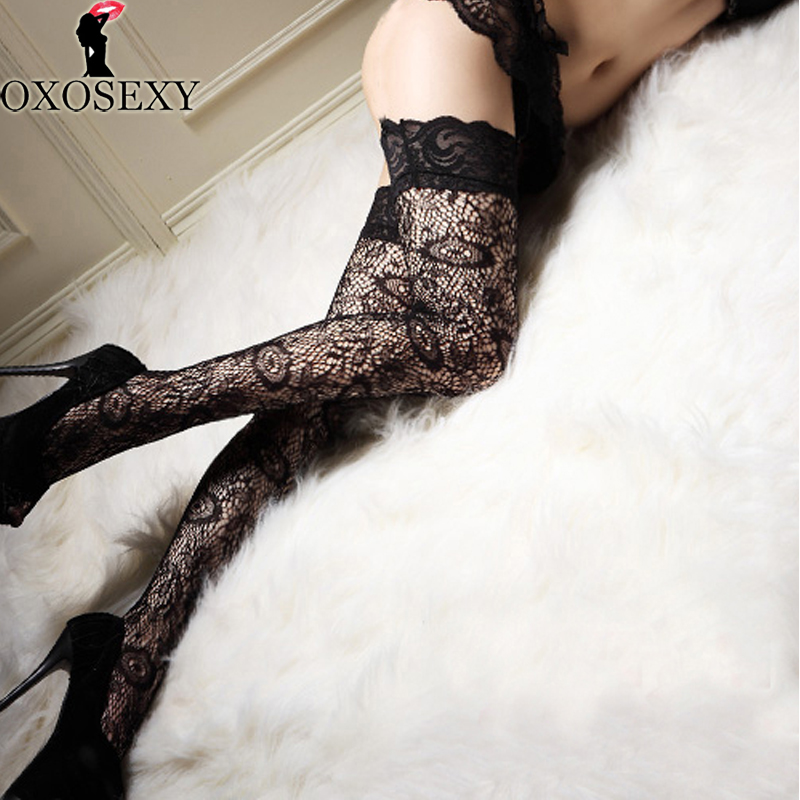 Heel Stocking Over Knee Jacquard Black Sexy Stockings Top Stay Up Stocking Women Sheer Thigh High Stockings Erotic Lingerie 034