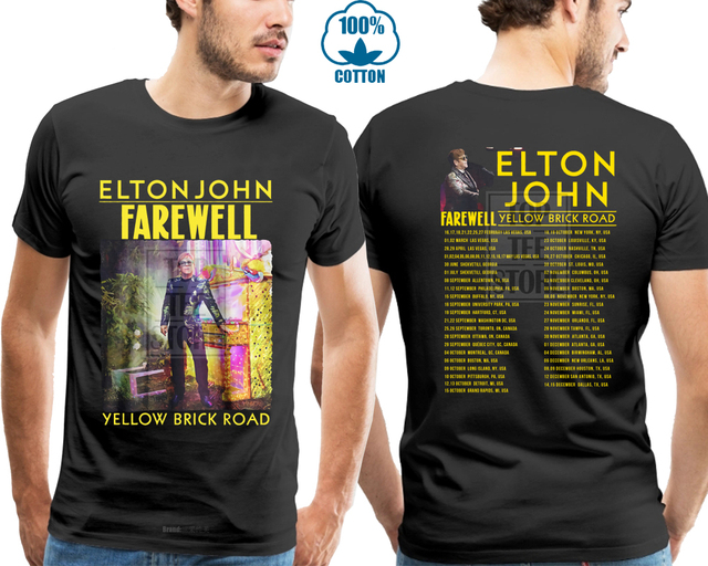 cd93f83c Elton John Yellow Brick Road Farewell Tour 2018 T Shirt Black S 4Xl ...
