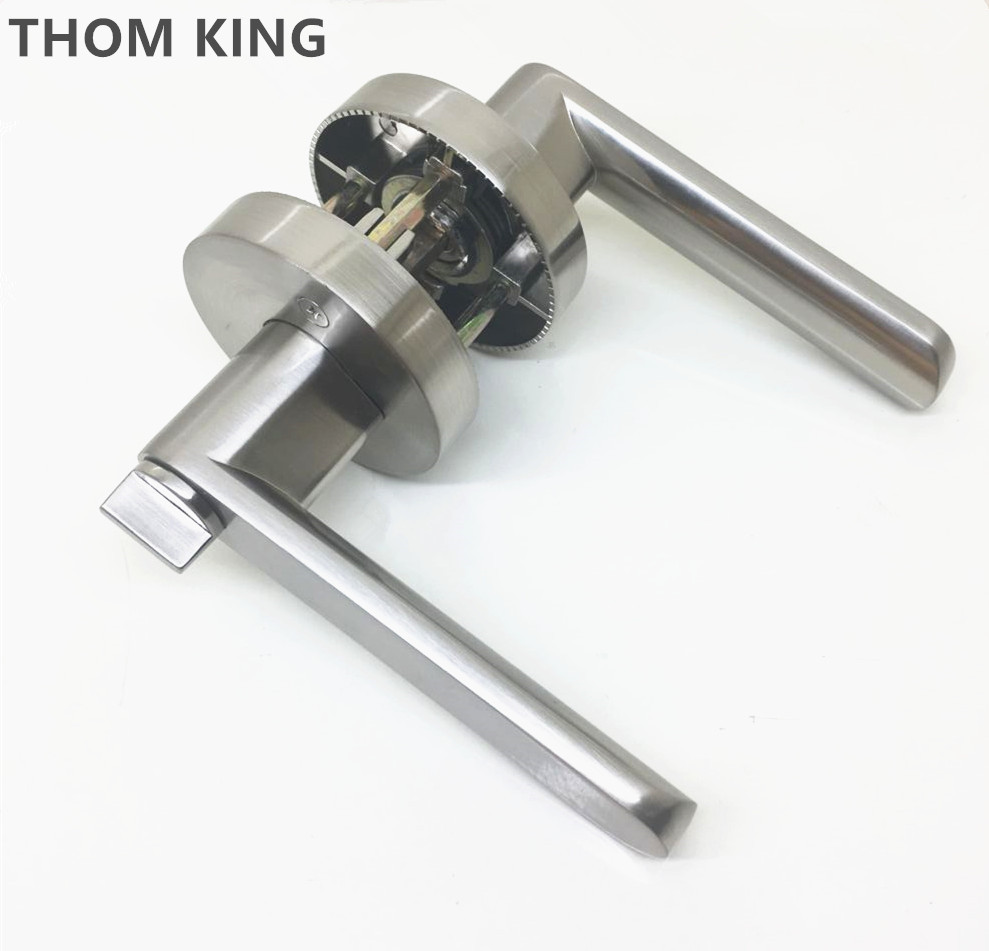 THOM KING 1pc/lot Stainless Steel Handle Door Lock Copper Lock Core +Keys Lever Home Security Handle Interior Lock 2pcs set stainless steel 90 degree self closing cabinet closet door hinges home roomfurniture hardware accessories supply