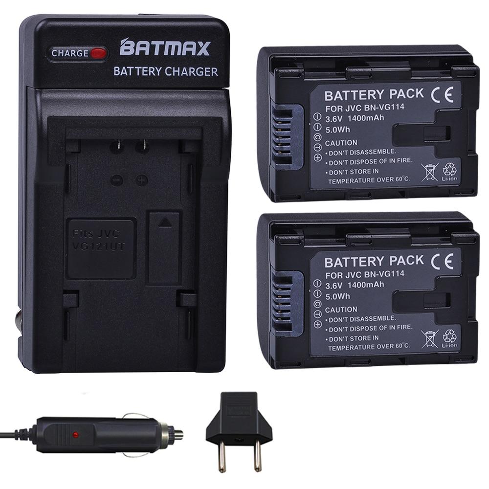 2 pc BN VG114 Batterie + Chargeur pour JVC VG108U VG107U VG114U BNVG121 VG138U VG138 VG107E VG121E VG114E VG121 VG114 VG108E BNVG114