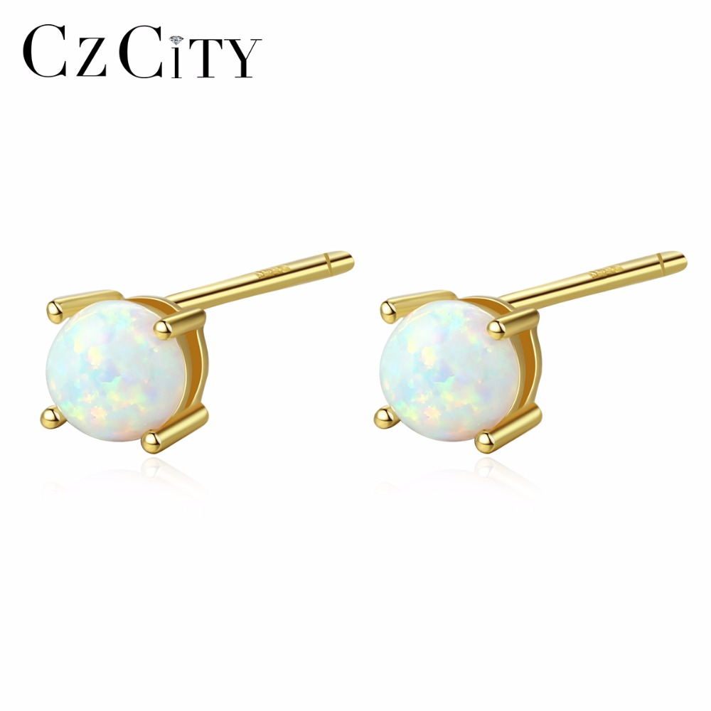CZCITY Pure 925 Sterling Silver Lovely Round Stud Earrings For Women Brightly Small Opal Earrings Tricolor Jewelry Brincos Gifts