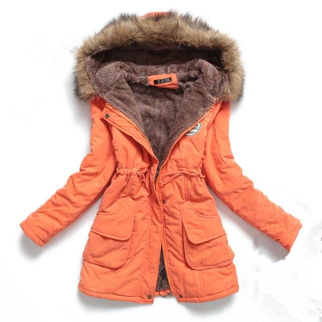 Autumn Winter Jacket Women Parka Warm Jackets Fur Collar Coats Female Long Parkas Hoodies Office Lady Cotton Plus Size 4