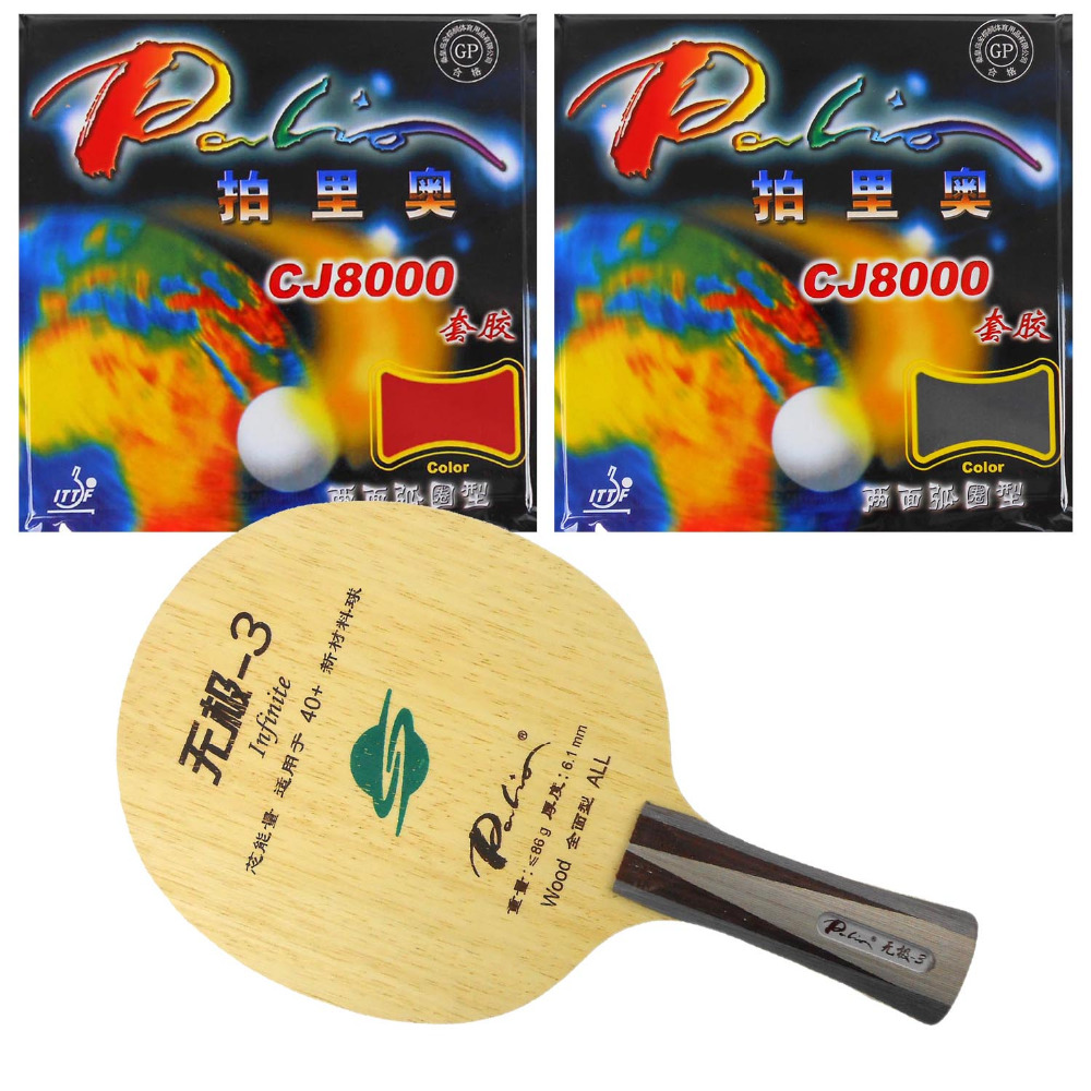 Pro Table Tennis/ PingPong Combo Racket: Palio Infinite-3 Blade with 2x Palio CJ8000 (H36-38) Rubbers Long Shakehand FL pro table tennis pingpong combo racket dhs power g7 blade with 2x palio ak 47 red matt rubbers shakehand long handle fl