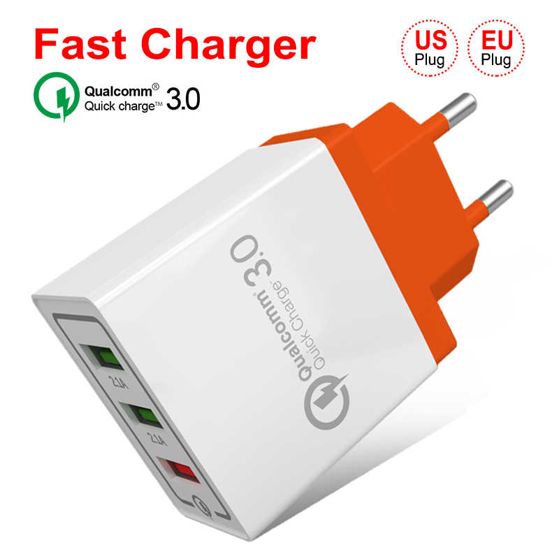 18W 3 USB Ponsel Cepat Dinding Plug untuk Samsung S8 S9 Huawei Quick Charge 3.0 Wall Charger untuk iPhone 7 8 X XR Universal