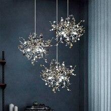 Post-modern Stainless Steel Leaf LED Pendant Lights 90-260V Romantic Hanglamp For Living Room Bedroom Coffee Shop Lamp