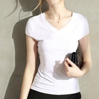 Modal Split T Shirt Female 2017 Summer Before And After The Irregular V Collar Short Sleeved