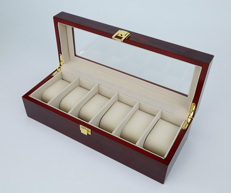 6 Grids Wooden watch High-grade paint Window Watches Box Display Boxes Case Showing cajas para Relojes Storage Holder Gift Box 2017 top pu leather watch case with window black 10 grids watch storage boxes brand watch display box watch gift box b038