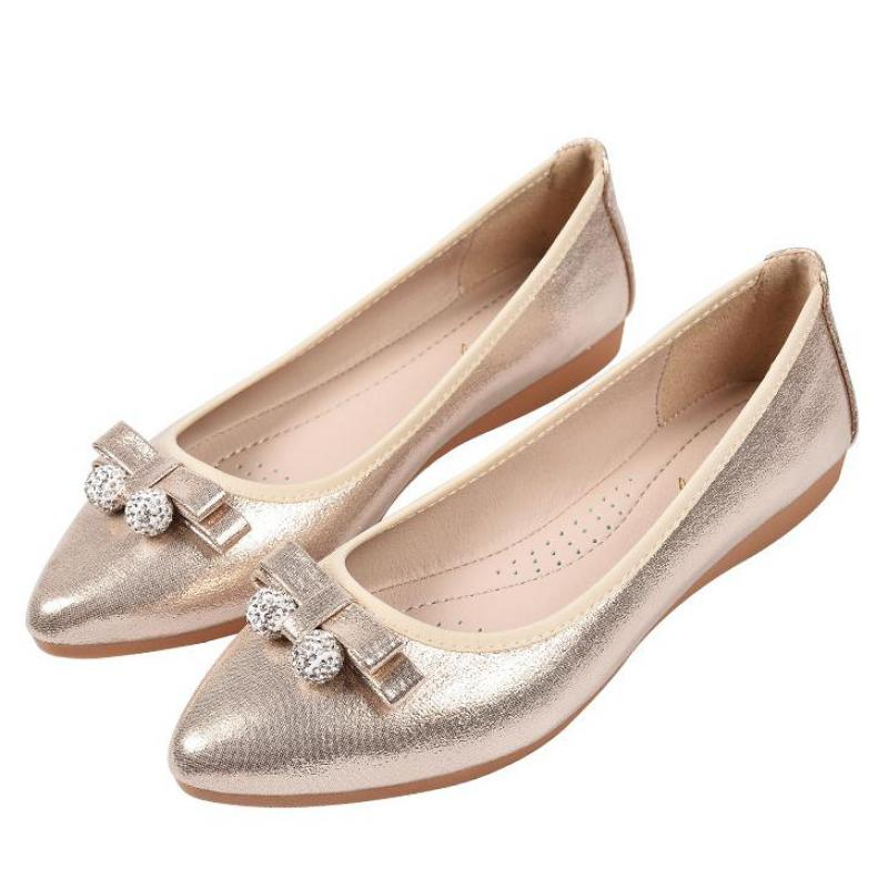 Gold Silver Flat Rhinestone Shoes Women Casual Bow Crystal Pointed Toe Slip On Ladies Loafers Flats Women Soft Comfortable Shoes de la chance women flat shoes new autumn slip on student casual shoes solid pu ladies loafers shoes soft nurse shoes white blue
