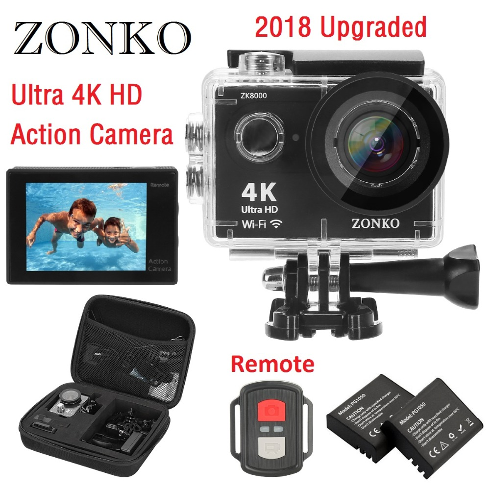 Action Camera ZONKO 4K Ultra HD WIFI Sports Camera, 12MP 170 Degree Wide-Angle Lens, 30M Waterproof Camera 2'' LCD Camcorder цена