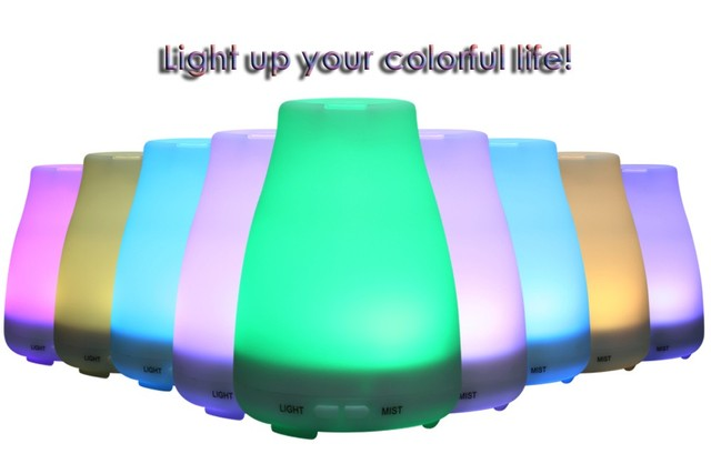 new arrival e4121 25142 NEW Ultrasonic Humidifier LED Light 7 Color Change Dry Protect Ultrasonic Essential  Oil Aroma Diffuser Air Humidifier Mist Maker