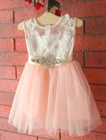 Everweekend 2017 Baby Girls Lace Embroidered Crystal Belt Print Floral Tutu Dress Ruffles Bow Backless Princess