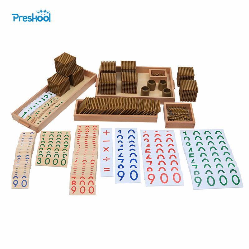 Montessori Kids Toy Baby Wood Golden Bead Materials Learning Educational Preschool Training Brinquedos Juguets new wooden baby toy montessori wood tri color cylinder insert box learning educational preschool training baby gifts
