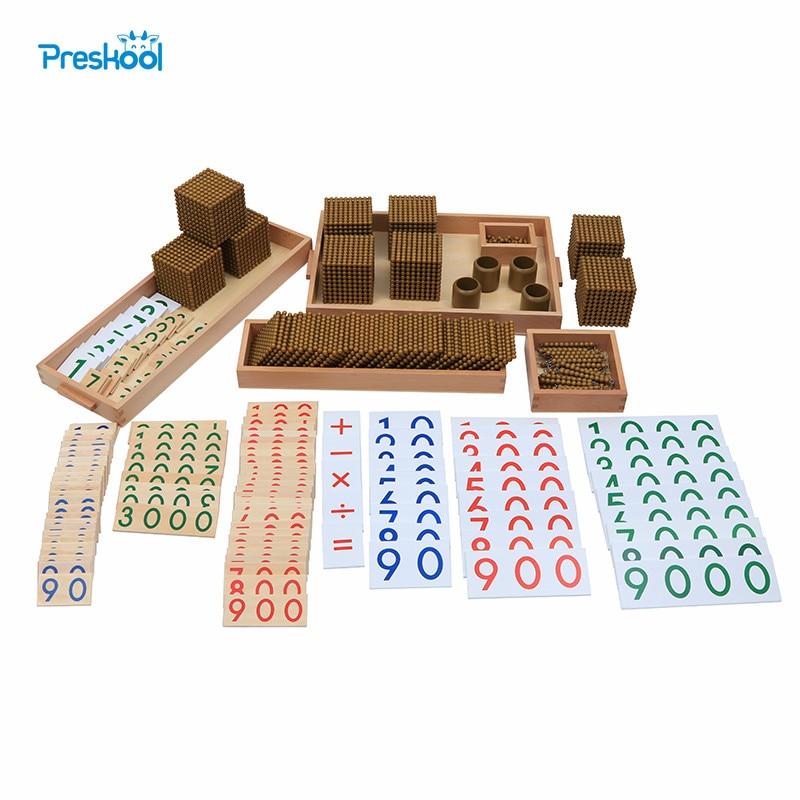 Montessori Kids Toy Baby Wood Golden Bead Materials Learning Educational Preschool Training Brinquedos Juguets