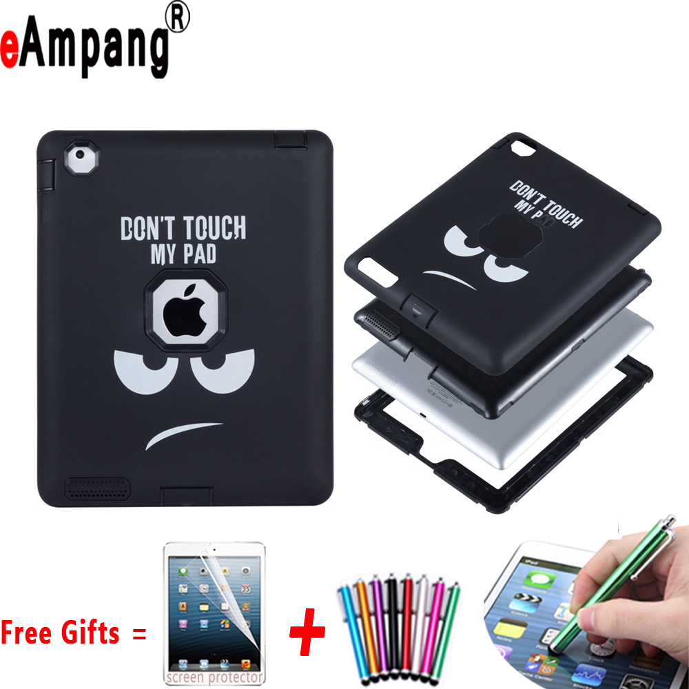цена на Case for Apple iPad 2 3 4 Resistant Hybrid Three Layer Cartoon Silicone Full Body Protector Cover Case for iPad 2 3 4 9.7 inch