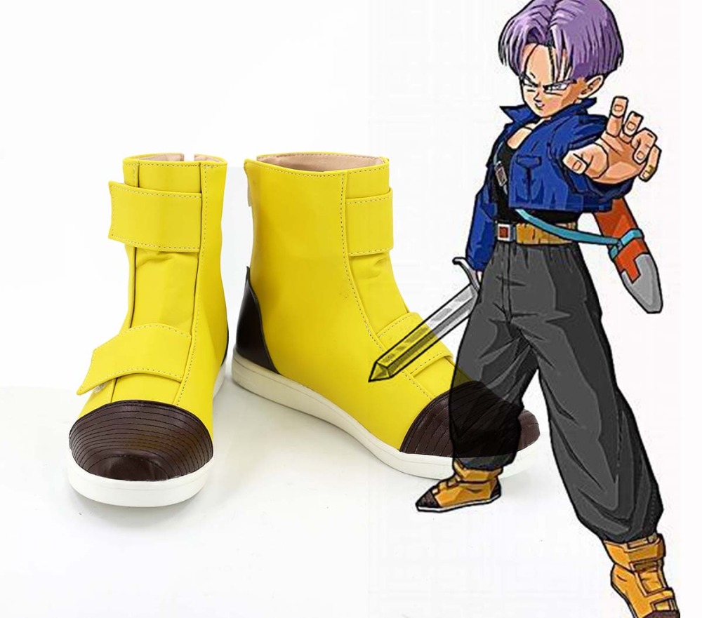 Trunks Shoes Cosplay Dragon Ball Z Trunks Cosplay Yellow Boots Shoes Custom Made Any Size