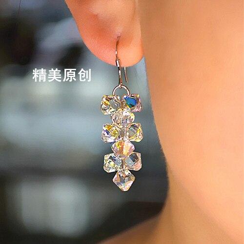 4.5cm 100% handmade pure 925 sterling silver jewelry Korea Austria crystal grape bunch long earrings female girlfriend gift
